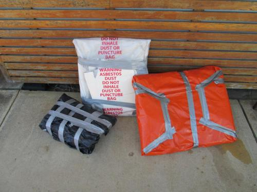 Correctly wrapped Asbestos parcels